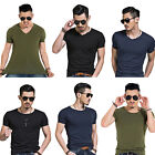 Mens T Shirts Crew/V-Neck Short Sleeve Slim Fit Casual Soft Cotton Tee Basic Top