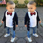 Toddler Kids Baby Boys Long Sleeve T-Shirt Tops + Cardigan Coat + Pants Outfits