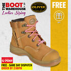 Oliver Work Boots, 49432z, Women's' Wheat Nubuck, Zip Side, Steel Cap Safety,