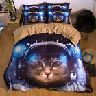 Space Cat Animal Single Queen King Size Quilt/Duvet/Doona Cover Set Sheet Fitted