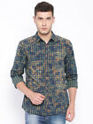 SPYKAR Men Navy & Green Checked Printed Casual Shirt