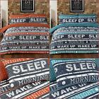 Pieridae New Retro Text Orange & Teal Duvet Bedding Cover Set With Pillow cases