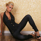 Women's High Quality Jeans Look Jumpsuit Stretch Overall Catsuit Size 8,10,12