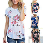 Fashion Women's Floral Print Round Neck Short Sleeve T-Shirt Lady Casual Blouses