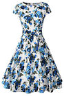 Cap Sleeve Vintage Dress with Belt Women 1950s Swing Dance Fit and Floral Dress