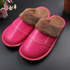 Womens Home Slippers Cow Leather Non-Slip Thick Fur Lining House Shoes Flats