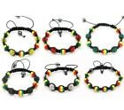 Handmade Jamaican Rasta Hemp Shamballa Bracelet Women Men 10mm