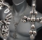 """SKULL CROWN CROSS ROSARY 925 STERLING SILVER MENS NECKLACE CHAIN 20 22 24 26 28"""""""