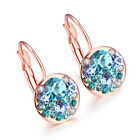 Riconex Rose and White Gold Plated Blue CZ Diamon Earrings For Women Jewelry