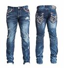 NEW AFFLICTION Men Denim Red Stitch Fleur Destroyed JEANS Blake Oakland