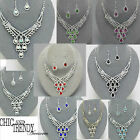 PRINCESS STYLE CRYSTAL PROM WEDDING FORMAL NECKLACE JEWELRY SET CHIC BLING