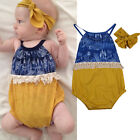 US Infant Toddler Baby Girl Clothes Romper Bodysuit+Headband Sunsuit Outfits Set