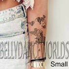 SMALL OR LARGE BLACK AND WHITE CALLIGRAPHY WORLD MAP TEMPORARY TATTOO STICKER