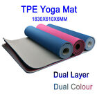 TPE Yoga Mat Exercise Fitness Gym Pilates Dual Colour Non Slip Dual Layer