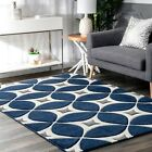 nuLOOM Hand Made Contemporary Geometric Trellis Area Rug in Navy Blue and Gray