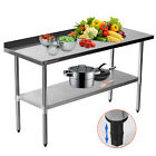 Voilamart Stainless Steel Work Bench Kitchen Catering Table Commercial Worktop