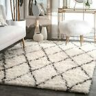 nuLOOM Hand Made Modern Geometric Moroccan Plush Shag Wool Area Rug in Ivory