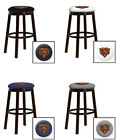 "CHICAGO BEARS 24"" & 28"" ESPRESSO WOOD METAL BAR MAN CAVE SHE SHED BAR STOOL"