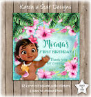 BABY MOANA 1ST BIRTHDAY PARTY PERSONALISED SQUARE GLOSS PARTY STICKERS X 12