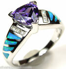 8mm Amethyst & Blue Fire Opal Inlay 925 Sterling Silver Ring size 6, 8, 9