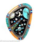Southwestern Multicolor Earth & Galaxy Inlay 925 Sterling Silver Ring sz 7,8,8.5