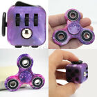 Purple Galaxy Hand Fidget Spinner + Cube Anxiety Stress Relief Focus Adults Set~