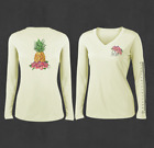 Ladies White V-Neck Pineapple Performance Fishing Shirts