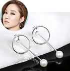 Korean TV producer Gong Hyo-jin Ring Studs Pearl Back Drop 925 Silver Earrings