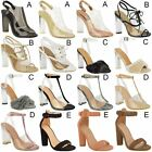 Womens High Clear Heels Ankle Strappy Open Toe Ladies Sandals Party Shoes Size