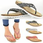 Womens Flats Toe Post Sandal Ladies Casual Wedge Flip Flop Jelly Shoes Size 3-8