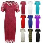 Womens Ladies Short Sleeve Floral Lace Lined Plus Size Bodycon Midi Dress 14-28
