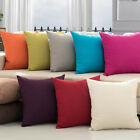 Pillow Case Cotton linen Cushion Cover Decor Square Home Throw Sofa Solid Colors