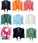 Women's Ladies Knotted Tie-Up Shrug fine knit cardigan One size Fits UK 8-12