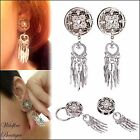 Dream Catcher Dangle Stainless Double Flared Ear Tunnels Plugs Stretchers 8-14mm