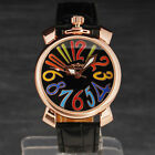 Fashion Men's Mechanical Automatic Colorful Number Index Gold Case Sport Watch