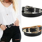 Hup Women Black Leather Western Cowgirl Waist Belt Waistband Single Metal Buckle