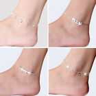 Fashion Ankle Bracelet Women 925 Silver Plated Chain Beach Anklet Foot Jewelry