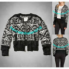 NWT ABERCROMBIE & FITCH WOMENS EDDY CARDIGAN SWEATER GREY PATTERN SIZE SMALL A&F