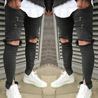 Fashion Mens Ripped Skinny Punk Jeans Destroyed Frayed Slim Fit Denim Long Pants