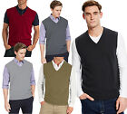 Mens Sleeveless  V Neck Classic  Knitted Jumpers Casual Tops( G7001)Sizes S-5XL