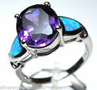 Amethyst and Blue Fire Opal Inlay Solid 925 Sterling Silver Ring size 6,7,8,9