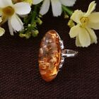 NEW Ring Vintage Woman Jewelry Ring Free Shipping Amber Antique Silver Ring 6-10