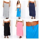 Ladies Plain Contrast Belt Waist Womens Long Straight Maxi Dress Summer Skirt