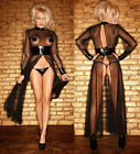 Sexy Long Sleeves Vinyl Mesh Dress with High Slits and G-string Party Gown