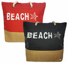 Canvas Beach Bag with Rope Handles Starfish Design Summer Sun High Quality