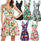 Womens Casual Slim Fit and Flare Floral Sleeveless Summer Vest Tank Mini Dress