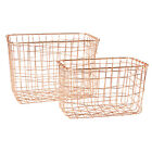 Copper Wire Basket Magazine Post Stairs Storage Crate Vintage Metal Mesh Hamper