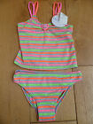 MARKS AND SPENCERS GREY NEON STRIPE TANKINI BIKINI PANTS SET 5 6  8 9 YEARS NEW