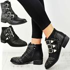 Womens Ladies Studded Flat Low Heel Cowboy Ankle Boots Buckle Vintage Shoes Size