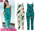 UK New Women V Neck Sleeveless Floral Print Ladies Summer Beach Casual Jumpsuit